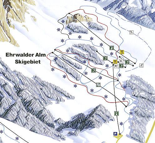 Plattegrond Skigebied Ehrwald