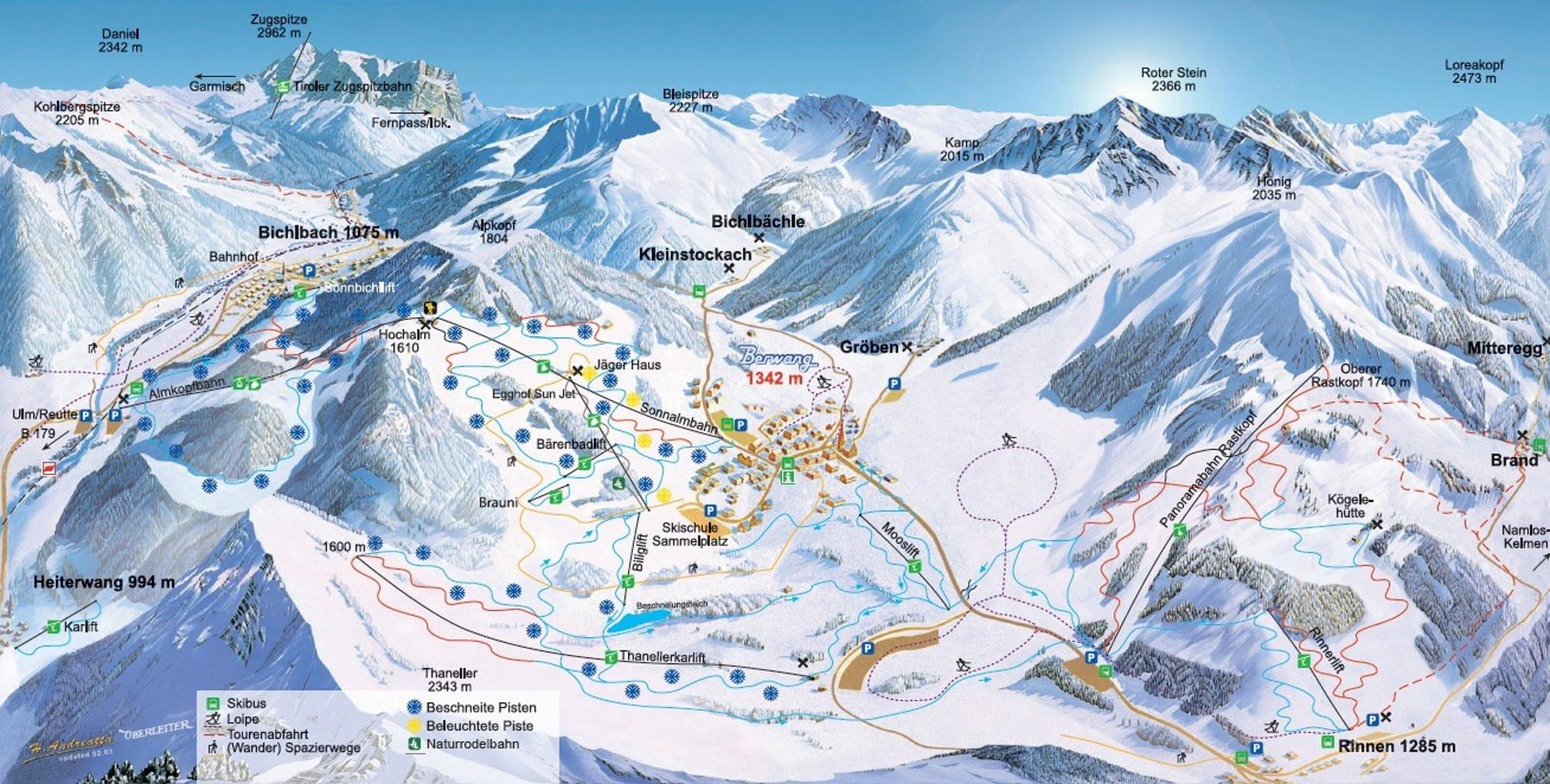 Plattegrond Skigebied Berwang